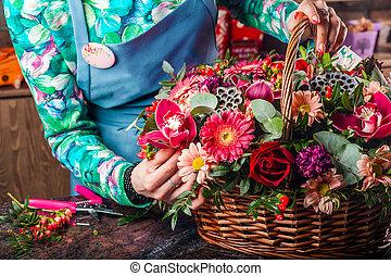 panier, flowers.