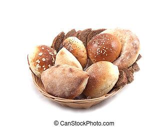 panier, fond blanc, pain