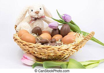 panier, frais, oeuf, lapin, paques