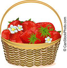 panier, fraises, fleurs