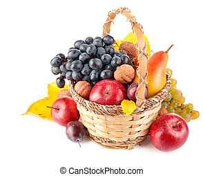 panier, fruit, automnal