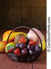 panier, fruit, vie, osier, encore