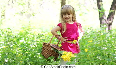 panier, girl, forêt, heureux