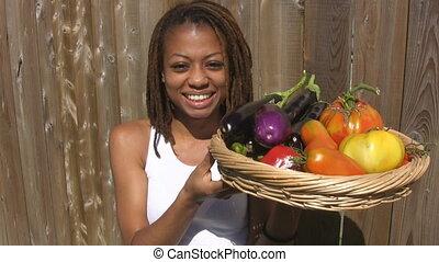 panier, girl, vegetables.