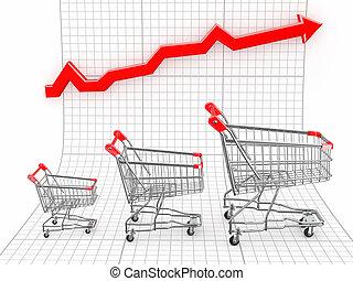 panier, graphique, achats, ventes, growth.
