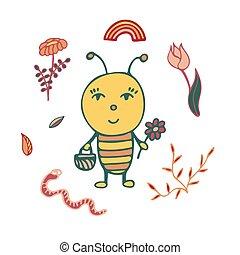 panier, hand-drawn, jardinier, flower., abeille