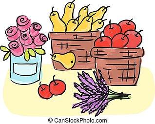panier, herbes, récolte, -, fruits