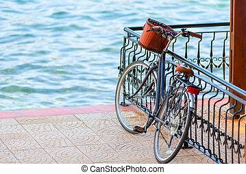 panier, jetée, vélo, barrière, noir