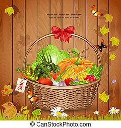 panier, légumes frais, conception, ton