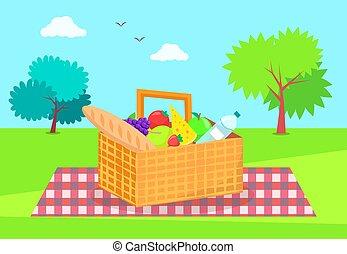 panier, légumes frais, pique-nique, fruits