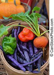 panier, légumes mélangés, organique