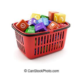 panier, média, boîtes, achats
