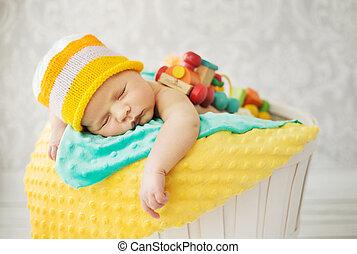 panier, mignon, bébé, dormir
