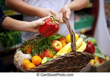 panier, nourriture saine, rempli