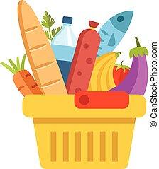 panier, nourriture, supermarché