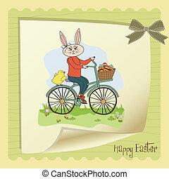 panier, oeufs, lapin pâques