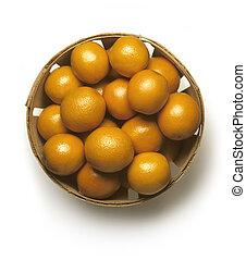 panier, oranges