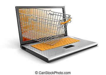 panier, ordinateur portable, achats