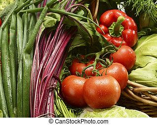 panier, osier, légumes, composition, cru