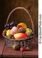 panier, osier, vie, fruit, encore
