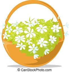 panier pâques, -, printemps, vecteur, fleurs, entiers, illustration