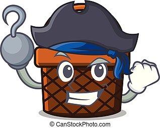 panier, pain, caractère, dessin animé, pirate