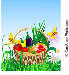 panier, pelouse, légumes