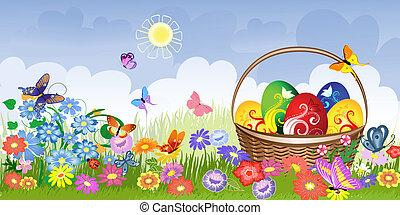 panier, pelouse, paques