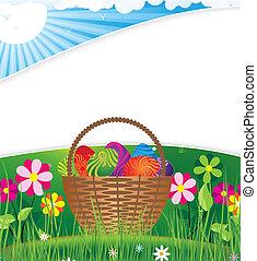 panier, pelouse, paques, matin