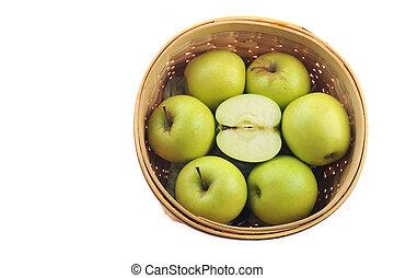 panier, pommes vertes