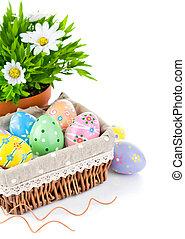 panier, Printemps, oeufs, fleurs, Paques