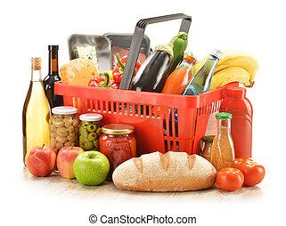 panier, produits, épicerie commerciale, composition
