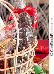 panier, santa, cadeau, chocolat