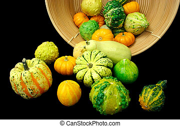 panier, tomber, dehors, courges