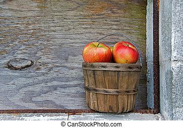 panier, vieux, pommes
