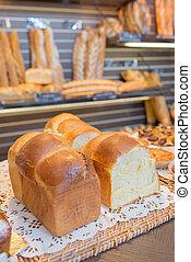 panificadora, exposição, pão