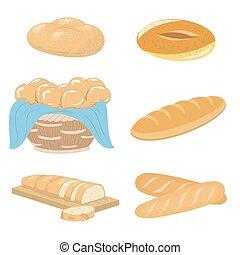 panificadora, jogo, pão, ícones