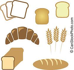 panificadora, jogo, pão, branca, ícones