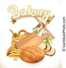 panificadora, logotipo, vetorial, bread., 3d