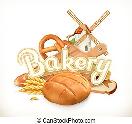 panificadora, vetorial, etiqueta, bread., 3d
