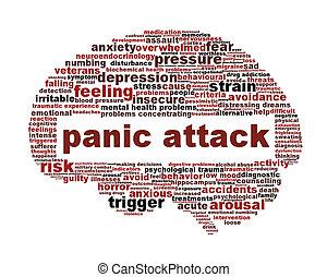 panik angrib, ikon, konstruktion, isoleret, på hvide