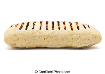 Panini Bread - Single toasted panini from low perspective...