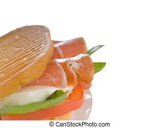 panini caprese and parma ham - panini sandwich with fresh...