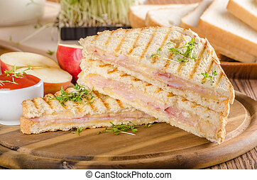 Panini cheese ham toast, fresh apple sandwitch - Panini...