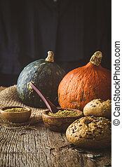 panini dolci, legno, zucca