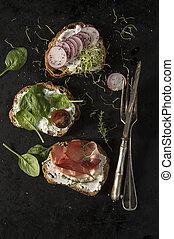 panini, fresco, fondo., nero, tabletop