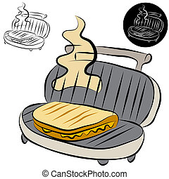 Panini Press Sandwich Maker Line Drawing - An image of a...