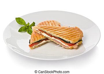 Panini Sandwich - Panini sandwich with prosciutto,...