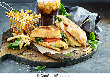 Panini sandwich with chicken and cheese - Grilled panini ...