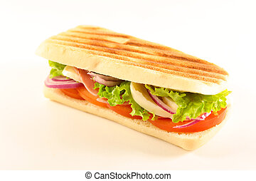 panini with tomato, cheese and ham